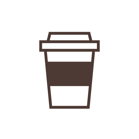 takeaway: Disposable coffee cup outline icon, modern minimal flat design style. Takeaway paper coffee cup vector illustration Illustration