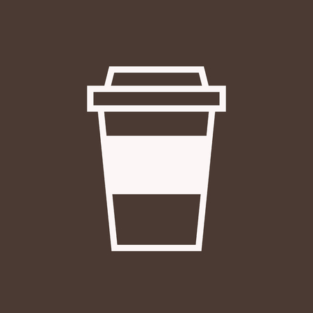 使い捨てのコーヒー カップのアウトラインのアイコン、モダンなミニマルなフラット デザイン スタイル。テイクアウト紙コーヒー カップのベクト