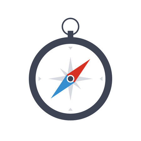 Compass icon, modern minimal flat design style, vector illustration isolated on white background