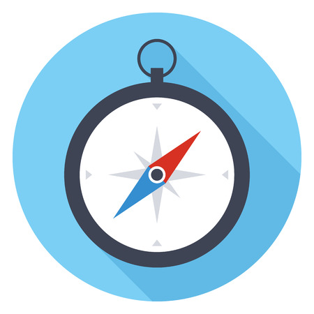 rose wind: Compass icon, modern minimal flat design style, vector illustration with long shadow