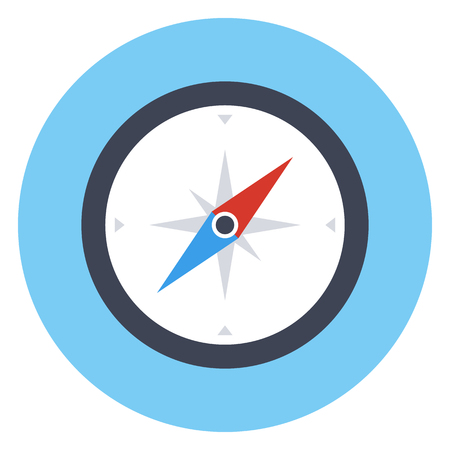 rose wind: Compass icon, modern minimal flat design style, vector illustration Vectores