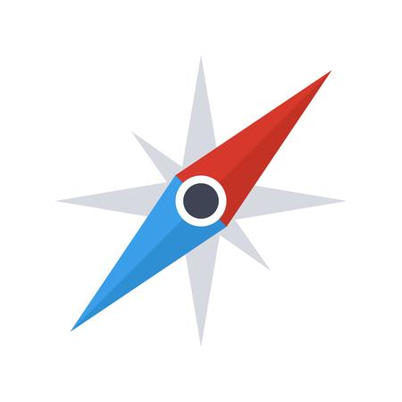 rosa vientos: icono de aguja de la brújula, el estilo de diseño plano moderno mínimo, ilustración vectorial