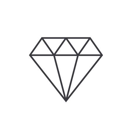 ダイヤモンドのアウトラインのアイコンをモダンなミニマルなフラット デザイン スタイル、細い線ベクトル イラスト