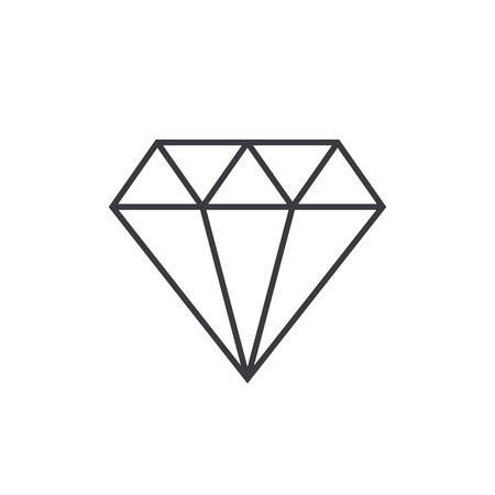 Diamond outline icon, modern minimal flat design style, thin line vector illustration