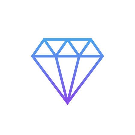 Diamond outline icon, modern minimal flat design style, linear vector illustration