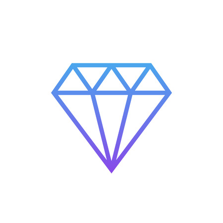 Diamond outline icon, modern minimal flat design style, linear vector illustration