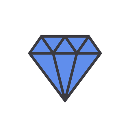 topaz: Diamond outline color icon, modern minimal flat design style, linear colored vector illustration