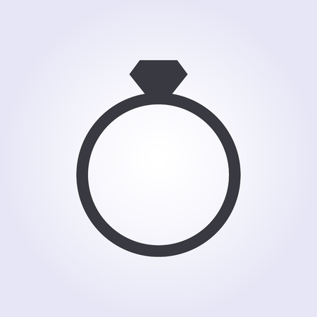 Diamond wedding ring icon, modern minimal flat design style. Jewelry vector illustration, engagement symbol