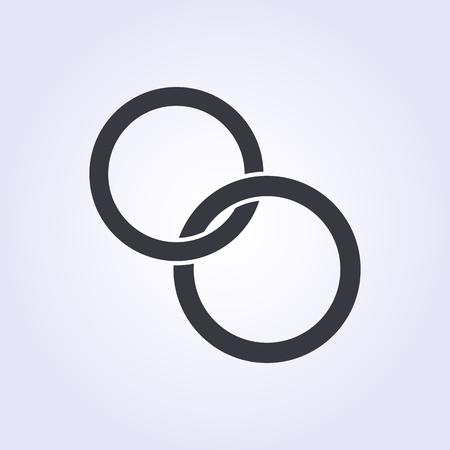 verlobung: Hochzeitsringe Symbol, modern minimal flache Design-Stil. Vektor-Illustration, Engagement Symbol Illustration