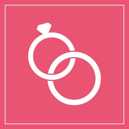c�r�monie mariage: Mariage anneaux ic�ne, style moderne de design plat minime. Bijoux illustration vectorielle, symbole engagement
