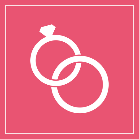 rings: Wedding rings icon, modern minimal flat design style. Jewelry vector illustration, engagement symbol