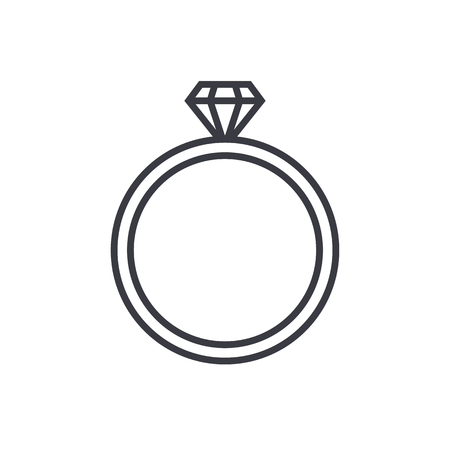 bijou: Diamond wedding ring outline icon, modern minimal flat design style. Jewelry vector illustration, engagement line symbol Illustration