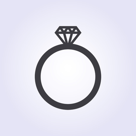 jewelry vector: Diamond wedding ring icon, modern minimal flat design style. Jewelry vector illustration, engagement symbol