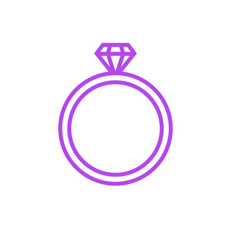 jewelry vector: Diamond wedding ring outline icon, modern minimal flat design style. Jewelry vector illustration, engagement line symbol Illustration