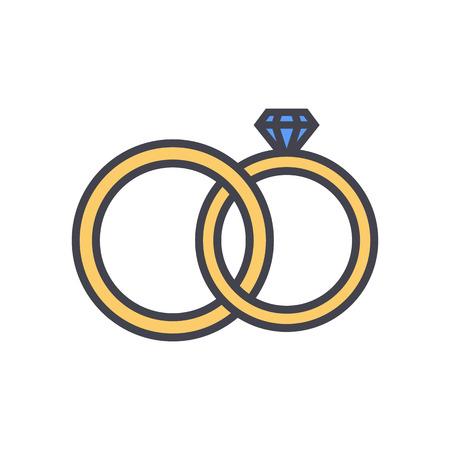 cérémonie mariage: Les anneaux de mariage décrivent la couleur icône, style moderne de design plat minimal. Bijoux illustration vectorielle, linéaire engagement symbole coloré