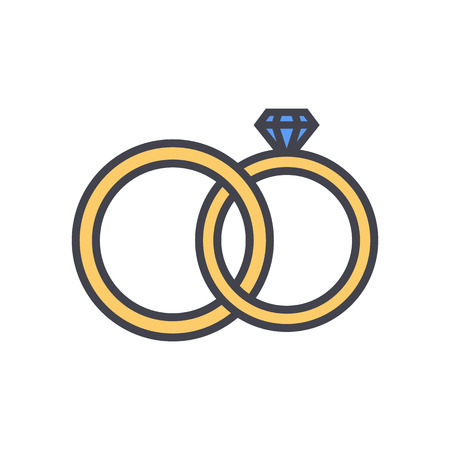 wedding decoration: Wedding rings outline color icon, modern minimal flat design style. Jewelry vector illustration, engagement linear colored symbol
