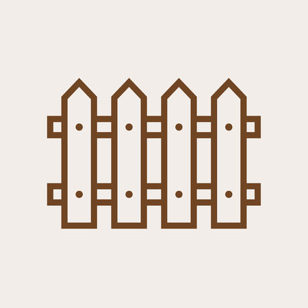 Fence outline icon, modern minimal flat design style, vector illustration 矢量图像