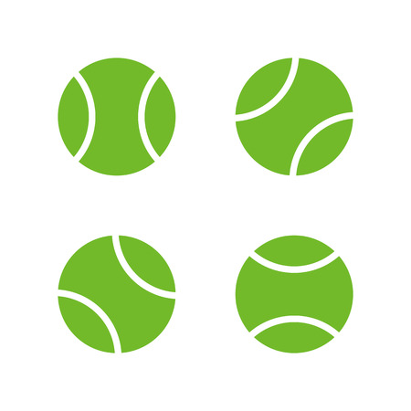 ball: Tennis ball icons, modern minimal flat design style. Vector illustration, icon set