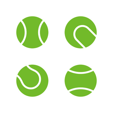 Tennis ball icons, modern minimal flat design style. Vector illustration, icon set