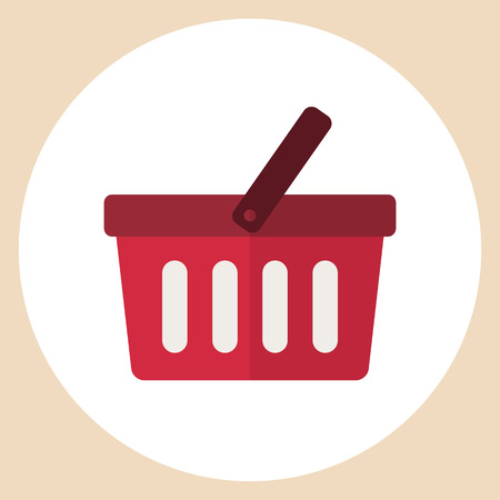 supermarket checkout: Shopping basket icon, modern minimal flat design style, vector illustration