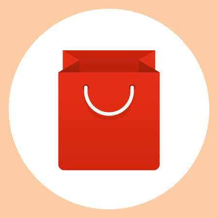 shopping bag icon: Shopping bag icon, modern minimal flat design style. Paper bag vector illustration Illustration