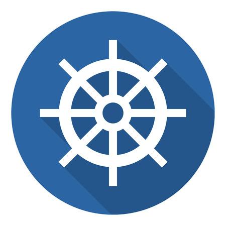 rudder ship: Ship steering wheel icon, minimal flat design style, rudder vector symbol Illustration