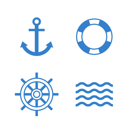 nautical equipment: Nautical icons. Anchor, lifebuoy, ship steering wheel, waves vector icon set. Modern minimal flat design style