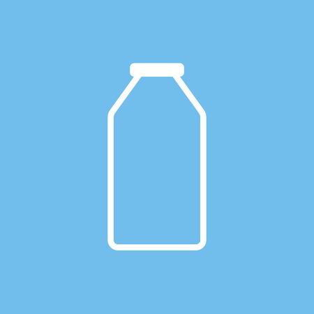verre de lait: Lait bouteille contour ic�ne, style moderne de design plat minimal, illustration vectorielle Illustration