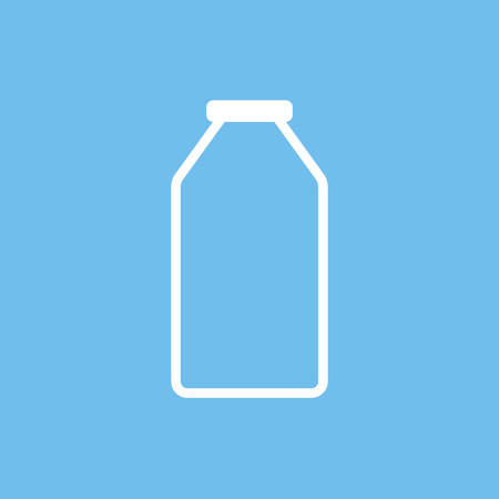 drinking milk: Milk bottle outline icon, modern minimal flat design style, vector illustration Illustration