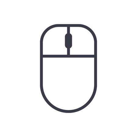 computer mouse icon: Computer mouse outline icon, modern minimal flat design style, vector illustration