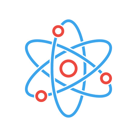 Atom icon, modern minimal flat design style. Vector illustration, science symbol Vettoriali