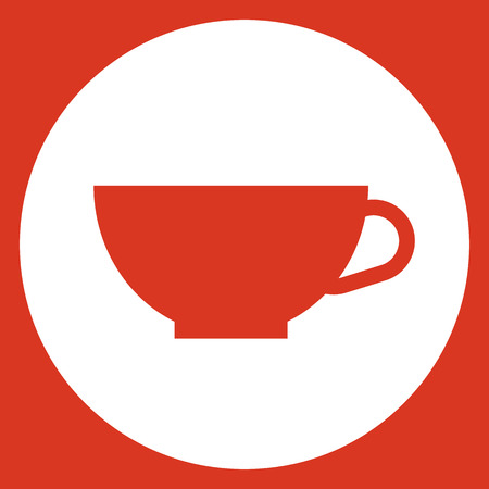 decaf: Cup icon, modern minimal flat design style. Coffee cup vector illustration