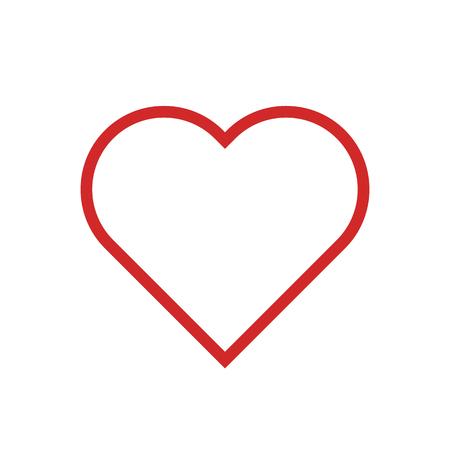 Icône de contour de coeur, style moderne de design plat minimal. Symbole de l'amour, illustration vectorielle