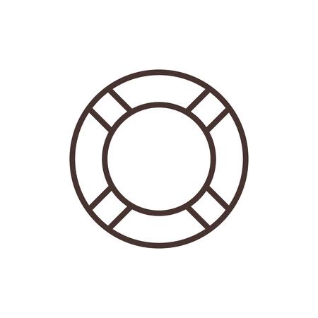 life belt: Lifebuoy outline icon, modern minimal flat design style. Life belt vector illustration