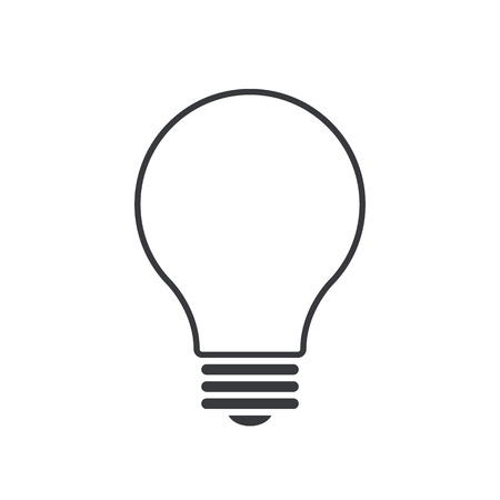 thin bulb: Light bulb outline icon, modern minimal flat design style, thin line vector illustration