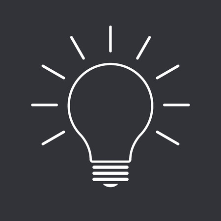 thin bulb: Light bulb outline icon, modern minimal flat design style, thin line vector illustration. Idea symbol