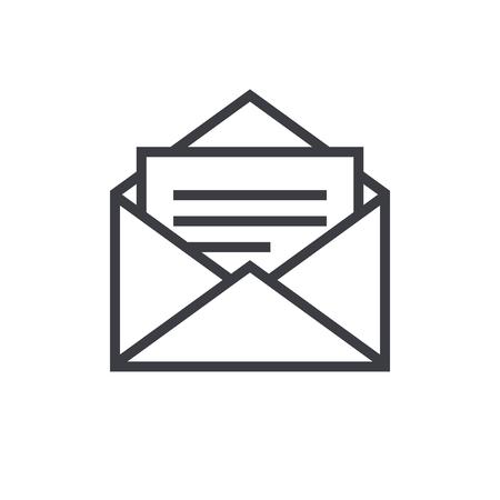 Open envelope outline icon, modern minimal flat design style, mail vector symbol