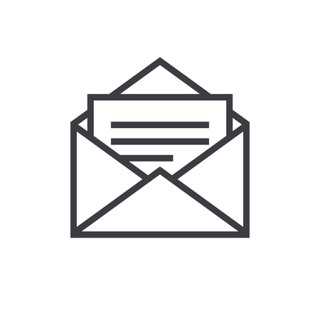 Open envelope outline icon, modern minimal flat design style, mail vector symbol