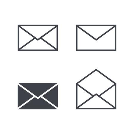 メールの封筒のアイコンを設定、モダンなミニマルなフラット デザイン スタイルのアイコン、ベクトル イラスト