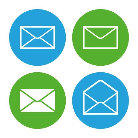 sobres para carta: Icono de sobre de correo conjunto, modernos iconos de estilo mínima de diseño plano, ilustración vectorial Vectores