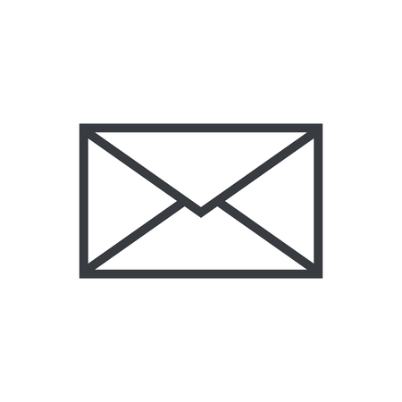 Mail envelope outline icon, modern minimal flat design style, vector illustration