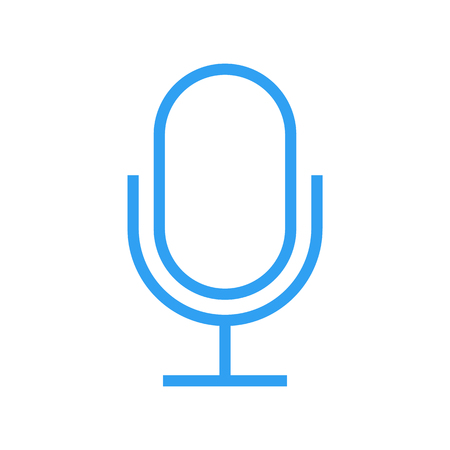 condenser: Microphone outline icon, modern minimal flat design style, vector illustration