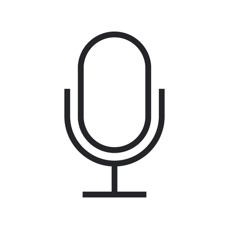 condenser: Microphone outline icon, modern minimal flat design style Illustration