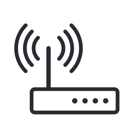 vector  icon: Wifi router outline icon, modern minimal flat design style, vector illustration