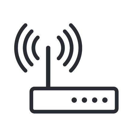 illustration vector: Wifi router outline icon, modern minimal flat design style, vector illustration