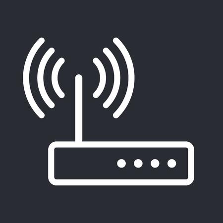 dsl: Wifi router outline icon, modern minimal flat design style, vector illustration