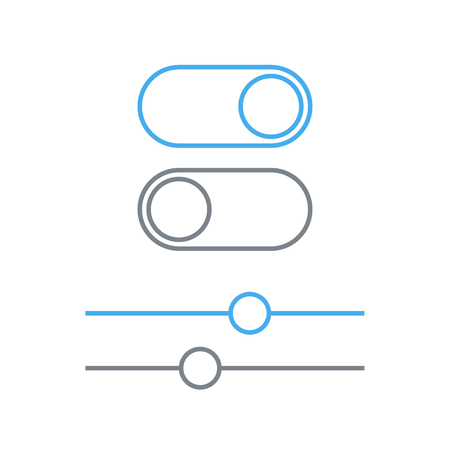 toggle switch: Toggle switches and sliders outline icon, On and Off position vector simple icons. Toggle switch and slider linear symbol, modern minimal flat design style
