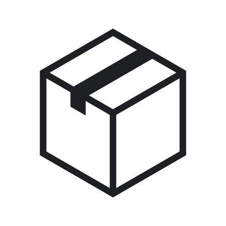 Isometric cardboard box outline icon, modern minimal flat design style. Closed cardboard box, vector illustration Illustration