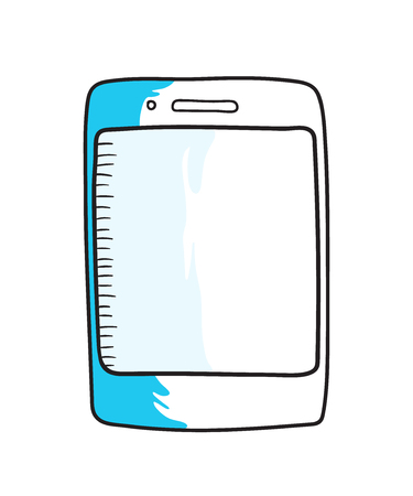 smartphone hand: Smartphone hand drawn icon, doodle vector illustration Illustration
