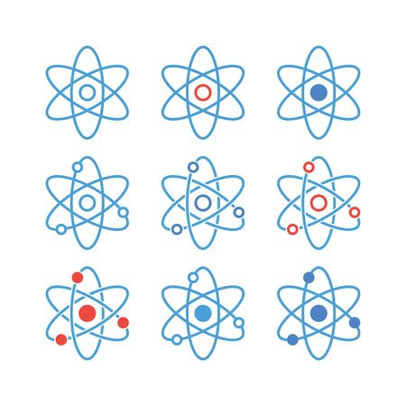 Atom icon set. Linear flat icons. Science vector symbol. Illustration